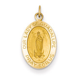 Our Lady of Guadalupe Medal Pendant 14k Gold Polished and Satin XR1249