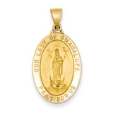 Our Lady of Guadalupe Medal Pendant 14k Gold Polished and Satin XR1251