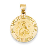 Our Lady of Perpetual Help Medal Pendant 14k Gold Polished and Satin XR1255