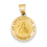 Our Lady of Perpetual Help Medal Pendant 14k Gold Polished and Satin XR1256