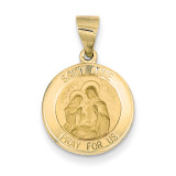 Saint Anne Medal Pendant 14k Gold Polished and Satin XR1285