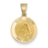 Saint Anthony Medal Pendant 14k Gold Polished and Satin XR1287