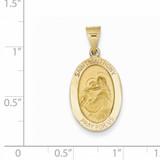 Saint Anthony Medal Pendant 14k Gold Polished and Satin XR1289