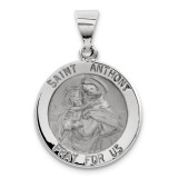 Polished and Satin Saint Anthony Medal Pendant 14k White Gold XR1294