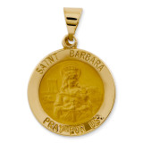 Saint Barbara Medal Pendant 14k Gold Polished and Satin XR1296