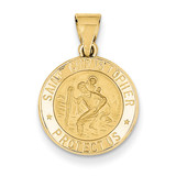 Saint Christopher Medal Pendant 14k Gold Polished and Satin XR1298