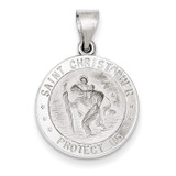 Polished and Satin Saint Christopher Medal Pendant 14k White Gold XR1301