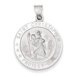 Polished and Satin Saint Christopher Medal Pendant 14k White Gold XR1302