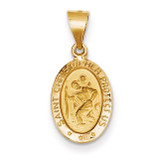 Saint Christopher Medal Pendant 14k Gold Polished and Satin XR1304