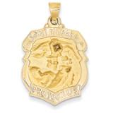 Saint Michael Badge Medal Pendant 14k Gold Polished and Satin XR1306