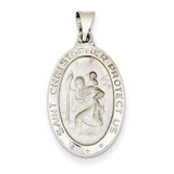 Polished and Satin Saint Christopher Medal Pendant 14k White Gold XR1309