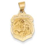 Saint Michael Badge Medal Pendant 14k Gold Polished and Satin XR1314