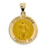Saint Florian Medal Pendant 14k Gold Polished and Satin XR1317