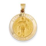 Saint Florian Medal Pendant 14k Gold Polished and Satin XR1319