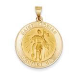 Saint Florian Medal Pendant 14k Gold Polished and Satin XR1320