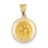 Saint George Medal Pendant 14k Gold Polished and Satin XR1328