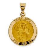 Saint John Medal Pendant 14k Gold Polished and Satin XR1333