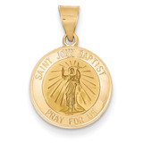 Saint John Baptist Medal Pendant 14k Gold Polished and Satin XR1334