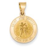 Saint John Baptist Medal Pendant 14k Gold Polished and Satin XR1335