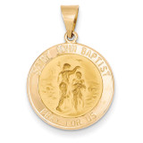 Saint John Baptist Medal Pendant 14k Gold Polished and Satin XR1336