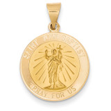 Saint John Baptist Medal Pendant 14k Gold Polished and Satin XR1337