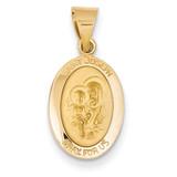 Saint Joseph Medal Pendant 14k Gold Polished and Satin XR1343