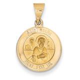 Saint Mark Medal Pendant 14k Gold Polished and Satin XR1357