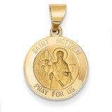 Saint Matthew Medal Pendant 14k Gold Polished and Satin XR1359