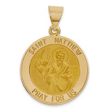 Saint Matthew Medal Pendant 14k Gold Polished and Satin XR1360