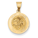 Saint Michael Medal Pendant 14k Gold Polished and Satin XR1362