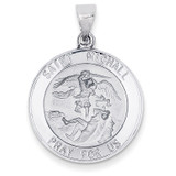 Polished and Satin Saint Michael Medal Pendant 14k White Gold XR1364