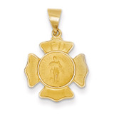 Saint Florian Badge Medal Pendant 14k Gold Polished and Satin XR1368