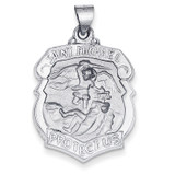 Polished and Satin Saint Michael Badge Medal Pendant 14k White Gold XR1369