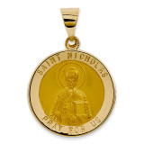 Saint Nicholas Medal Pendant 14k Gold Polished and Satin XR1371