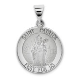Polished and Satin Saint Patrick Medal Pendant 14k White Gold XR1374