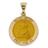 Saint Peter Medal Pendant 14k Gold Polished and Satin XR1380