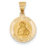 Saint Peter Medal Pendant 14k Gold Polished and Satin XR1381