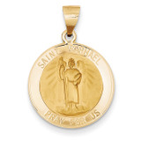 Saint Raphael Medal Pendant 14k Gold Polished and Satin XR1383