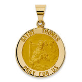 Saint Thomas Medal Pendant 14k Gold Polished and Satin XR1387