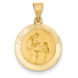 First Holy Communion Medal Pendant 14k Gold Polished and Satin XR1389