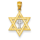Diamond with Rhodium Star of David with Cross Charm 14k Gold XR1397