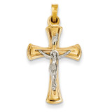 INRI Hollow Crucifix Pendant 14k Two-Tone Gold XR290