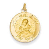 Sacred Heart of Mary Medal Charm 14k Gold XR338
