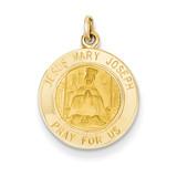 Jesus, Mary, Joseph Medal Charm 14k Gold XR353