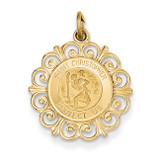 Saint Christopher Medal Charm 14k Gold XR381
