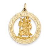 Saint Christopher Medal Pendant 14k Gold XR382