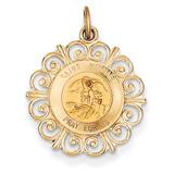 Saint Michael Medal Charm 14k Gold XR386