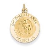 Guardian Angel Medal Charm 14k Gold XR389
