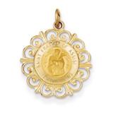 Saint Francis of Assisi Medal Pendant 14k Gold XR392