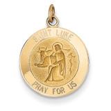 Saint Luke Medal Charm 14k Gold XR403